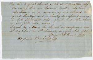 Primary view of object titled '[Letter of Standing for John Bachman from Carrollton Baptist Church, April, 1857]'.
