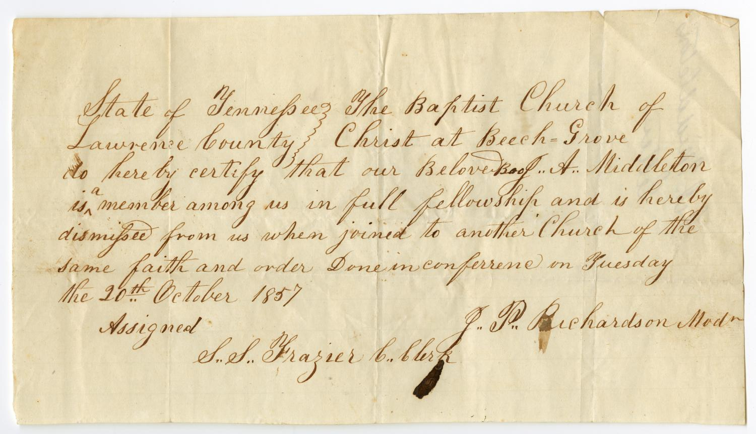 [Letter of Standing for J. A. Middleton from Beech Grove Baptist Church, October 20, 1857]                                                                                                      [Sequence #]: 1 of 2