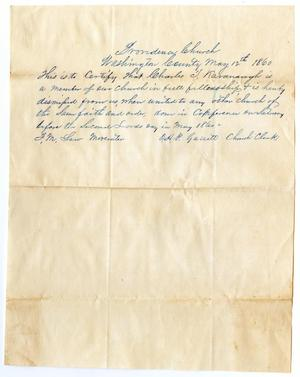 Primary view of object titled '[Letter of Standing for Charles Kavanaugh from Providence Church, May 12, 1860]'.