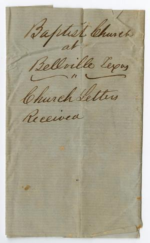 Primary view of object titled '[Envelope from Baptist Church at Bellville, Texas]'.