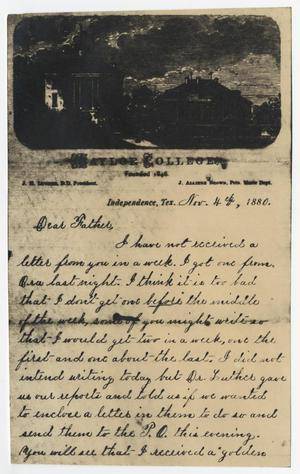Primary view of object titled '[Letter from Gertrude Osterhout to John Patterson Osterhout, November 4, 1880]'.