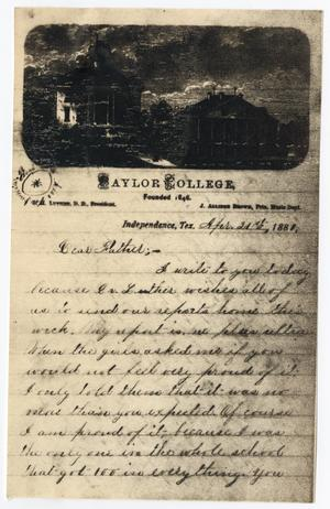 Primary view of object titled '[Letter from Gertrude Osterhout to John Patterson Osterhout, April 21, 1881]'.