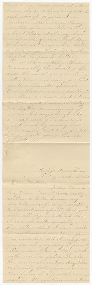 Primary view of object titled '[Letter from Gertrude Osterhout to Junia Roberts Osterhout, April 6, 1883]'.