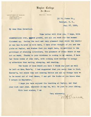 [Letter from William H. Vann to Junia Roberts Osterhout, August 18, 1920]