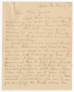 [Letter from E. H. Wells to Junia Roberts Osterhout, December 1, 1916]