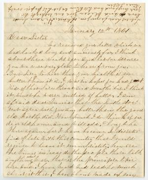 Primary view of object titled '[Letter from Lizzie Roberts to Junia Roberts Osterhout, January 12, 1861]'.