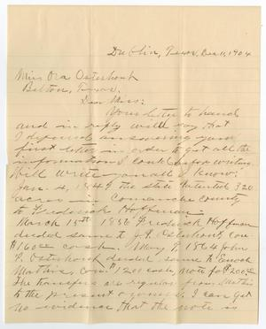 Primary view of object titled '[Letter from W. T. Daniel to Ora Osterhout, December 11, 1904]'.