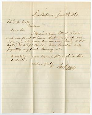 Primary view of object titled '[Letter from George Cuffle to George W. Wade, June 23, 1867]'.