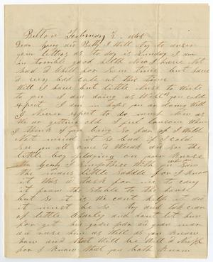 Primary view of object titled '[Letter from H. M. Bouldin to George W. and Bettie Wade, February 2, 1868]'.