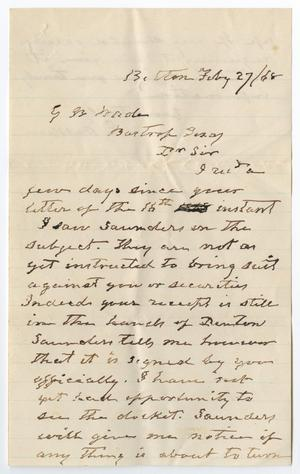 Primary view of object titled '[Letter from E. Walker to George W. Wade, February 27, 1868]'.