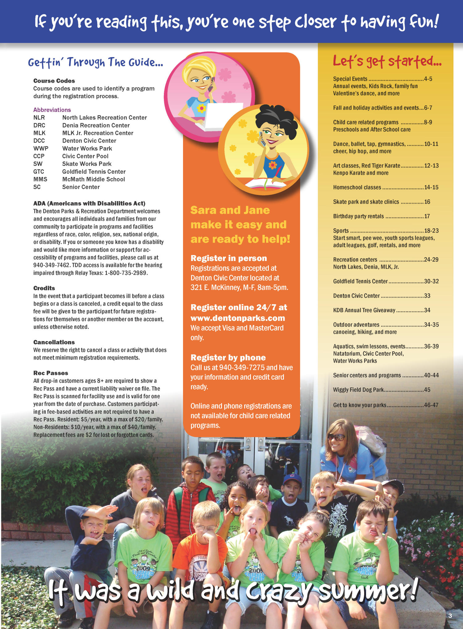 Catalog for City of Denton Parks and Recreation, Fall