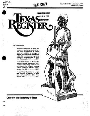 Primary view of object titled 'Texas Register, Volume 6, Number 1, Pages 5071-5090, January 2, 1981'.