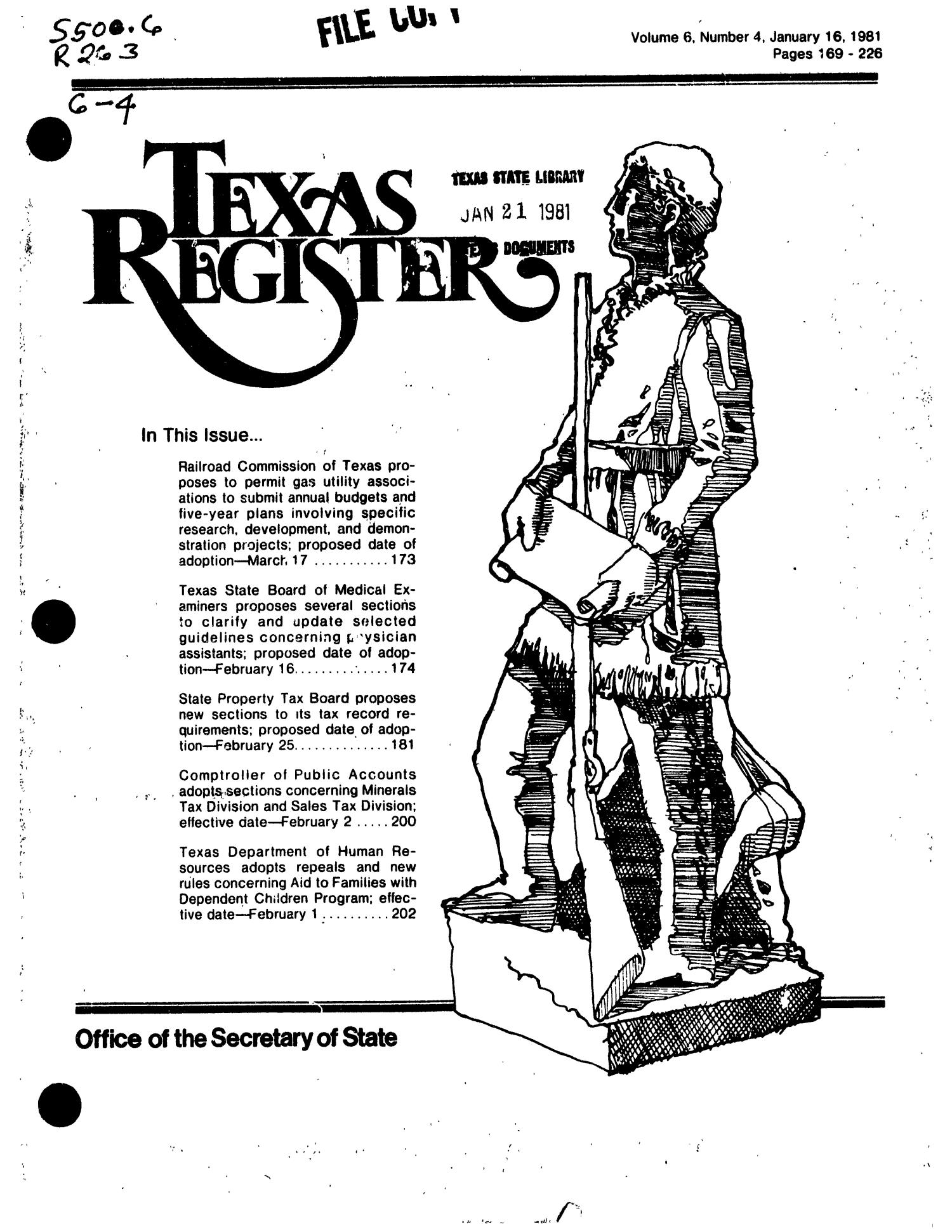 Texas Register, Volume 6, Number 4, Pages 168-226, January 16, 1981                                                                                                      Title Page