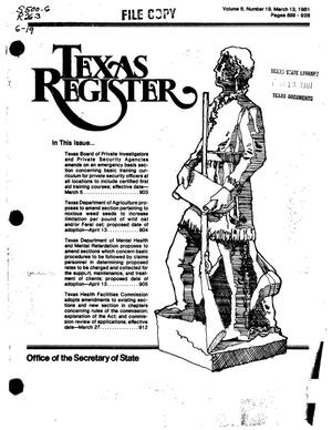 Primary view of object titled 'Texas Register, Volume 6, Number 19, Pages 899-928, March 13, 1981'.