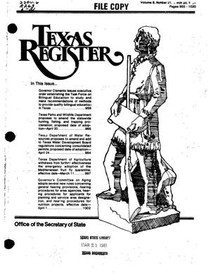 Primary view of object titled 'Texas Register, Volume 6, Number 21, Pages 955-1020, March 20, 1981'.