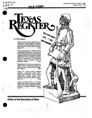 Primary view of object titled 'Texas Register, Volume 6, Number 25, Pages 1223-1276, April 3, 1981'.