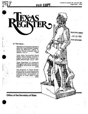 Primary view of object titled 'Texas Register, Volume 6, Number 48, Pages 2237-2254, June 26, 1981'.