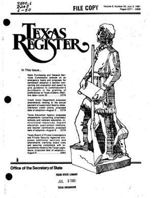 Primary view of object titled 'Texas Register, Volume 6, Number 50, Pages 2271-2308, July 3, 1981'.