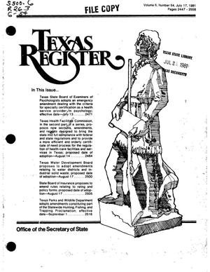 Primary view of object titled 'Texas Register, Volume 6, Number 54, Pages 2447-2558, July 17, 1981'.