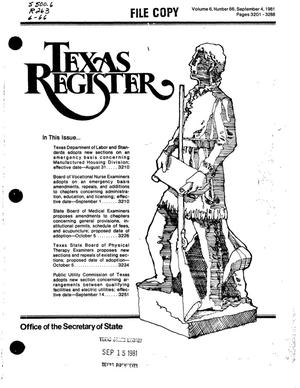 Primary view of object titled 'Texas Register, Volume 6, Number 66, Pages 3201-3288, September 4, 1981'.