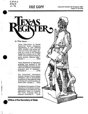 Primary view of object titled 'Texas Register, Volume 6, Number 76, Pages 3719-3784, October 9, 1981'.
