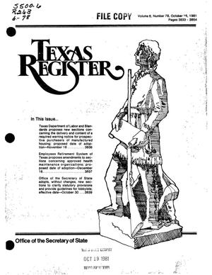 Primary view of object titled 'Texas Register, Volume 6, Number 78, Pages 3833-3854, October 16, 1981'.