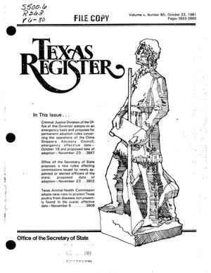 Primary view of object titled 'Texas Register, Volume 6, Number 80, Pages 3893-3950, October 23, 1981'.
