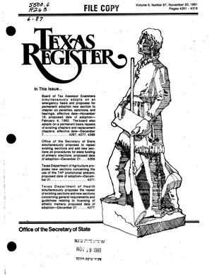 Primary view of object titled 'Texas Register, Volume 6, Number 87, Pages 4261-4316, November 20, 1981'.