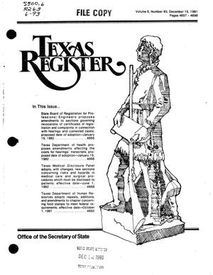 Primary view of object titled 'Texas Register, Volume 6, Number 93, Pages 4657-4696, December 15, 1981'.