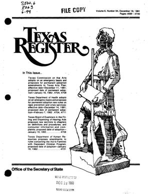 Primary view of object titled 'Texas Register, Volume 6, Number 94, Pages 4699-4740, December 18, 1981'.