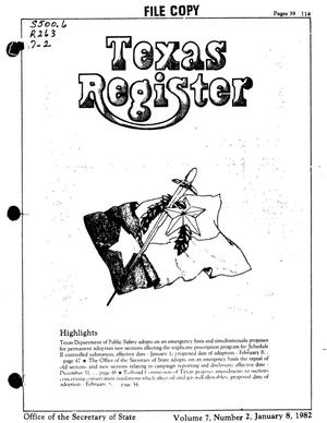 Primary view of object titled 'Texas Register, Volume 7, Number 2, Pages 39-114, January 8, 1982'.