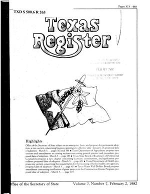 Primary view of object titled 'Texas Register, Volume 7, Number 7, Pages 373-468, February 2, 1982'.