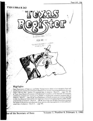 Primary view of object titled 'Texas Register, Volume 7, Number 8, Pages 469-554, February 5, 1982'.