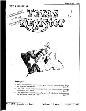 Primary view of object titled 'Texas Register, Volume 7, Number 57, Pages 2803-2850, August 3, 1982'.