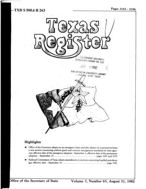 Primary view of object titled 'Texas Register, Volume 7, Number 65, Pages 3163-3196, August 31, 1982'.