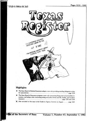 Primary view of object titled 'Texas Register, Volume 7, Number 67, Pages 3233-3282, September 7, 1982'.