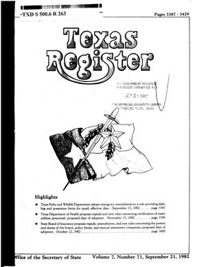 Primary view of object titled 'Texas Register, Volume 7, Number 71, Pages 3387-3429, September 21, 1982'.