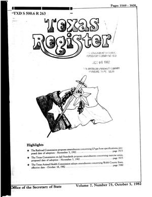 Primary view of object titled 'Texas Register, Volume 7, Number 75, Pages 3569-3606, October 5, 1982'.