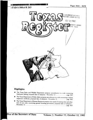 Primary view of object titled 'Texas Register, Volume 7, Number 77, Pages 3641-3678, October 12, 1982'.
