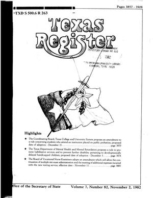 Primary view of object titled 'Texas Register, Volume 7, Number 82, Pages 3857-3908, November 2, 1982'.