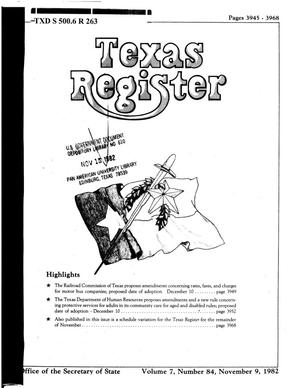 Primary view of object titled 'Texas Register, Volume 7, Number 84, Pages 3945-3968, November 9, 1982'.
