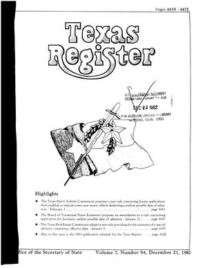 Primary view of object titled 'Texas Register, Volume 7, Number 94, Pages 4439-4472, December 21, 1982'.