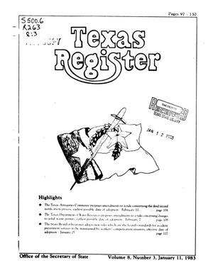 Primary view of object titled 'Texas Register, Volume 8, Number 3, Pages 97-130, January 11, 1983'.