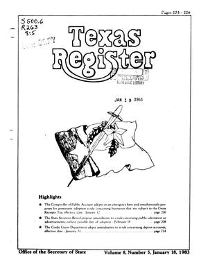 Primary view of object titled 'Texas Register, Volume 8, Number 5, Pages 203-226, January 18, 1983'.
