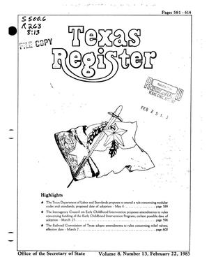 Primary view of object titled 'Texas Register, Volume 8, Number 13, Pages 581-614, February 22, 1983'.