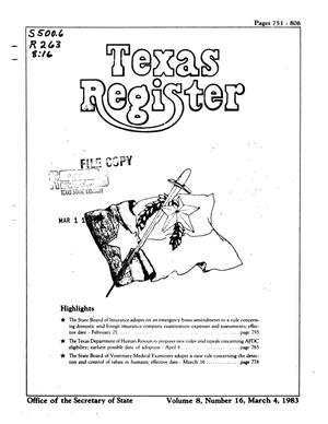 Primary view of object titled 'Texas Register, Volume 8, Number 16, Pages 751-806, March 4, 1983'.