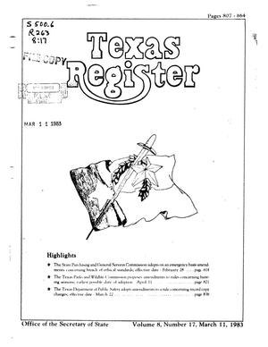 Primary view of object titled 'Texas Register, Volume 8, Number 17, Pages 807-864, March 11, 1983'.