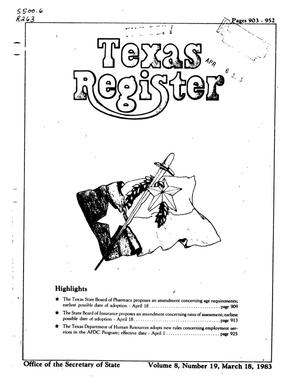Primary view of object titled 'Texas Register, Volume 8, Number 19, Pages 903-952, March 18, 1983'.