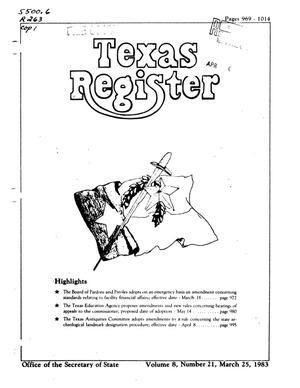 Primary view of object titled 'Texas Register, Volume 8, Number 21, Pages 969-1014, March 25, 1983'.