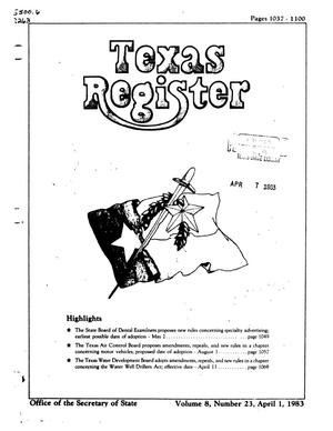 Primary view of object titled 'Texas Register, Volume 8, Number 23, Pages 1037-1100, April 1, 1983'.